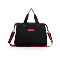 ins超火健身包大容量短途旅行包女防水尼龙手提行李包折叠旅行袋 黑色