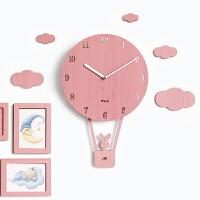 钟表异形挂钟客厅现代简约个性时钟卧室卡通摇摆静音家用免打孔吊 粉红色 赠送相框 12英寸
