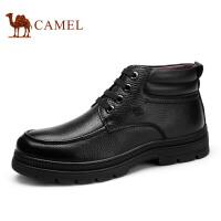 camel 骆驼男靴 商务休闲皮鞋 秋冬新款保暖短筒皮靴
