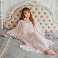 春夏季复古蕾丝宫廷风睡裙仙女大袖子棉质睡衣少女甜美女神家居服 均码
