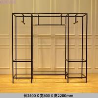女装店货架展示架黑色铁艺烤漆靠墙侧挂服装展示架女装展示 长2.4米宽0.4米高2.2米