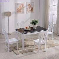 现代简约钢化玻璃餐桌椅组合6人小户型黑白色烤漆餐台饭桌长方形