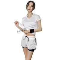 健身房运动套装女网纱速干衣瑜珈服跑步显瘦短裤三件套