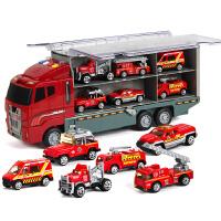 超大号合金车模型玩具套装男孩子卡车儿童小汽车仿真货柜车集装箱