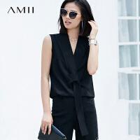 Amii极简中性chic欧货潮雪纺衫2018夏季新款V领无袖知性打结上衣.
