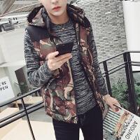 迷彩棉马甲男学生短款外套韩版潮流青少年冬装男士坎肩冬天学院风