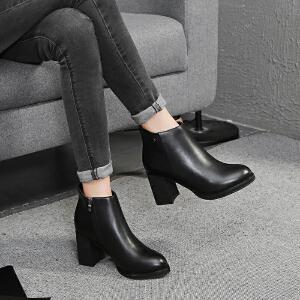毅雅2017秋冬新款欧美时尚简约圆头粗跟及踝靴高跟女短靴子马丁靴YM7WN5897