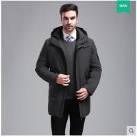 加厚保暖时尚中长款加厚中老年爸爸装连帽外套中年男士羽绒服