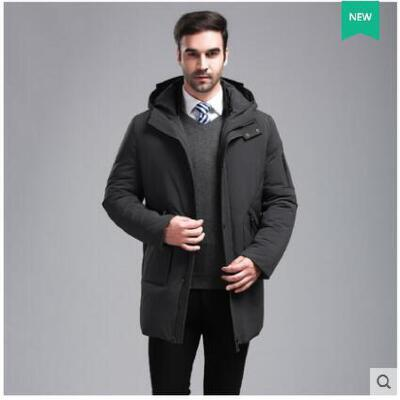 加厚保暖时尚中长款加厚中老年爸爸装连帽外套中年男士羽绒服 品质保证,支持货到付款 ,售后无忧