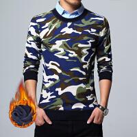 2017新款男士套头时尚修身潮流加绒衬衫迷彩保暖假两件针织衬衣