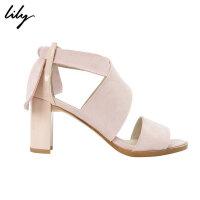 Lily春夏新款女装时尚帅气粗高跟羊皮革拼接高跟鞋118200JZ803