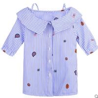 童装夏装女童圆领中袖条纹T恤儿童五分袖韩版休闲衬衣潮