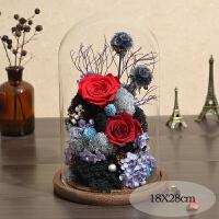 永生花礼盒玻璃罩玫瑰摆件干花束朋友送女音乐教师情人节生日礼物