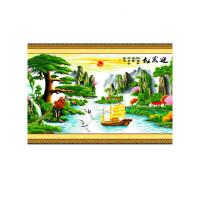 绣好的手工十字绣成品迎客松财运版帆船大版客厅山水挂画