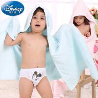 迪士尼Disney米妮米奇素色连帽纱布浴巾 纯棉儿童大浴巾 斗篷 新