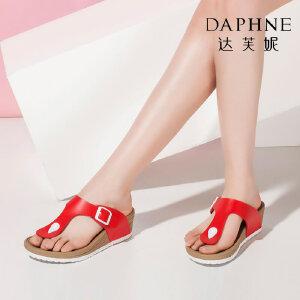 达芙妮女鞋夏季拖鞋时尚编织坡跟厚底夹趾女凉拖鞋