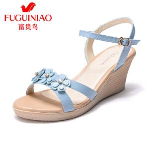 富贵鸟女鞋2017夏季新品甜美小清新坡跟防水台女凉鞋韩版高跟鞋子