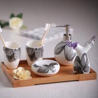 陶瓷托盘套件 欧式浴室洗漱用品卫浴五件套装卫生间刷牙漱口杯牙具