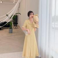 大码女装胖妹妹mm2019夏装新款气质甜美复古很仙的连衣裙桔梗裙子