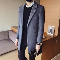 风衣男冬季中长款韩版呢子外套潮流修身男士毛呢大衣青年英伦男装 灰色 M