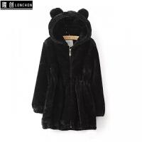 冬季外套女中长款韩版新款连帽修身显瘦可爱水貂绒毛毛仿皮草 黑色有耳朵款