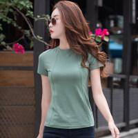 夏季简约女纯色短袖T恤女新款韩版百搭夏季修身显瘦上衣