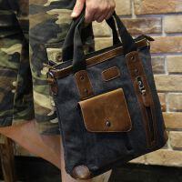 男士包包容量帆布商务男士包包手提包公文包电脑包休闲出差竖款电脑包男女复古手提包