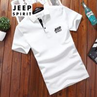 吉普Jeep短袖t恤男士服装T恤男短款男士t恤衫翻领男士简约薄款纯色体恤