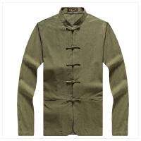 男士唐装胖子加肥加大中式太极服棉麻长袖衬衫中年特大码盘扣外套