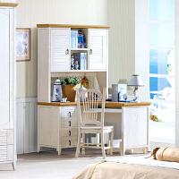 尚满 地中海系列书房书桌家具 实木框架写字台电脑桌 简约现代转角书台 书桌+书架+椅子 主机架