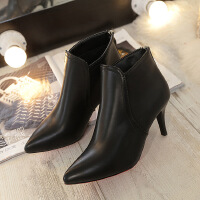 欧洲站尖头超高跟鞋性感细跟短靴女鞋简约单靴踝靴子冬季新款 黑色6cm