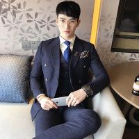 男士西服套装三件套休闲商务修身韩版新郎结婚礼服格子小西装正装