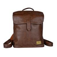 韩版时尚潮流皮包双肩包男士休闲旅行包小背包女包学院风学生书包 浅棕色 皮包