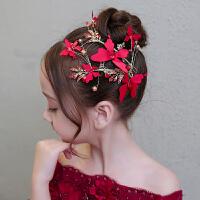 2018新款儿童礼服红色发饰节日演出头花头饰花童婚纱发箍女