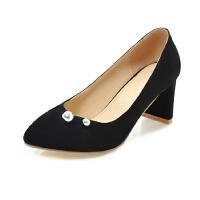 ELEISE美国艾蕾莎新品152-827韩版磨砂绒面高跟粗跟女士单鞋