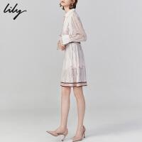 【2件4折到手价:351.6元】 Lily秋新款女装法式洋气字母印花收腰少女气质长袖连衣裙7936