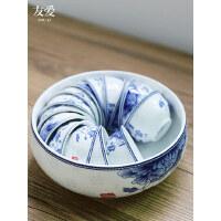 友爱大号茶洗青花笔洗陶瓷茶具配件烟缸水盂茶桶大号家用水洗茶盘