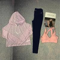 2018新款瑜伽服套装女长袖健身房晨跑步速干衣显瘦运动三件套