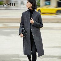 【5折价:389元/再叠优惠券】Amii极简韩版高端羊毛毛呢外套女2018冬新款宽松双排扣中长款大衣