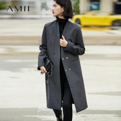 【书香节 跨店每满200减100】Amii[极简主义]轻奢 羊毛毛呢外套女 2017冬季新连襟领双排扣大衣
