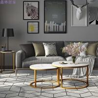 北欧家具大理石茶几简约客厅创意小桌子组合铁艺后现代金色圆茶桌