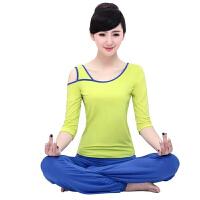春夏新款瑜伽套装瑜伽服 中长袖健身服瑜伽套装 女 黄+蓝中袖