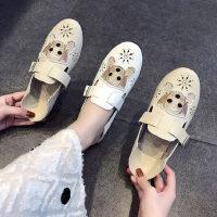 户外单鞋女平底时尚软底开车鞋白色百搭浅口透气孕妇豆豆鞋