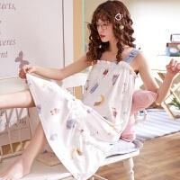 小情歌夏季纯棉睡衣夏天吊带背心睡裙大码宽松薄款家居服孕妇中长款睡裙z3738