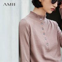 【AMII大牌日 2件4折】Amii极简100%巴素兰羊毛毛衣女2018冬装新款半高领纯色修身针织衫