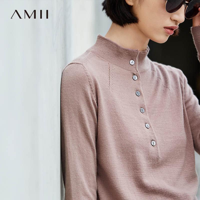 【品牌团 1件7折/2件5折】Amii[极简主义]舒适休闲 100%巴素兰羊毛毛衣 2017冬装新修身上衣