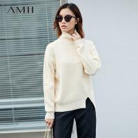 毛衣保暖季 Amii休闲感 不对称毛衣女 冬季简洁高领开叉落肩袖上衣.