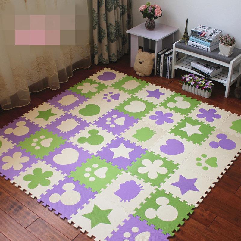 套装儿童拼图地垫泡沫卧室拼接海绵爬行垫榻榻米家用地板垫子 gx6 环保套装 拼图卡通 送边条