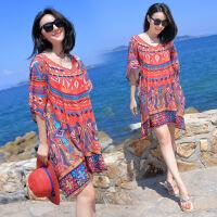 夏季200斤女装大码加肥雪纺连衣裙波西米亚短裙海边度假拍照沙滩