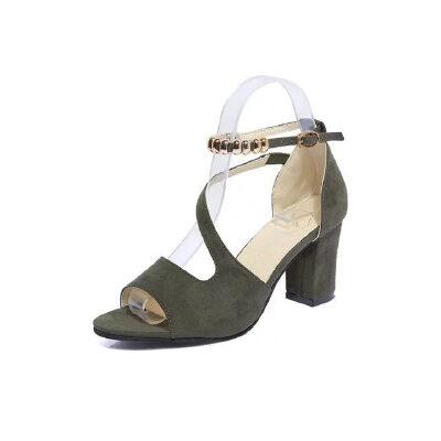 ELEISE美国艾蕾莎新品060-8255韩版磨砂绒面高跟女士凉鞋